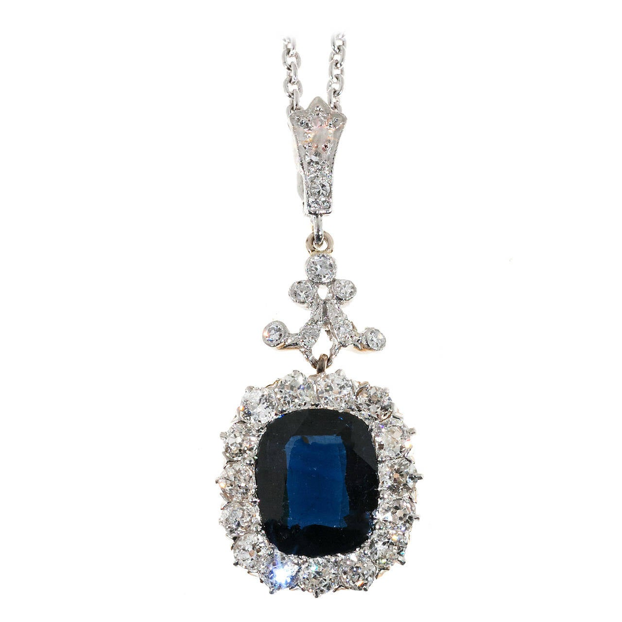 Victorian Natural No Heat Cushion Sapphire Diamond Platinum Necklace 1