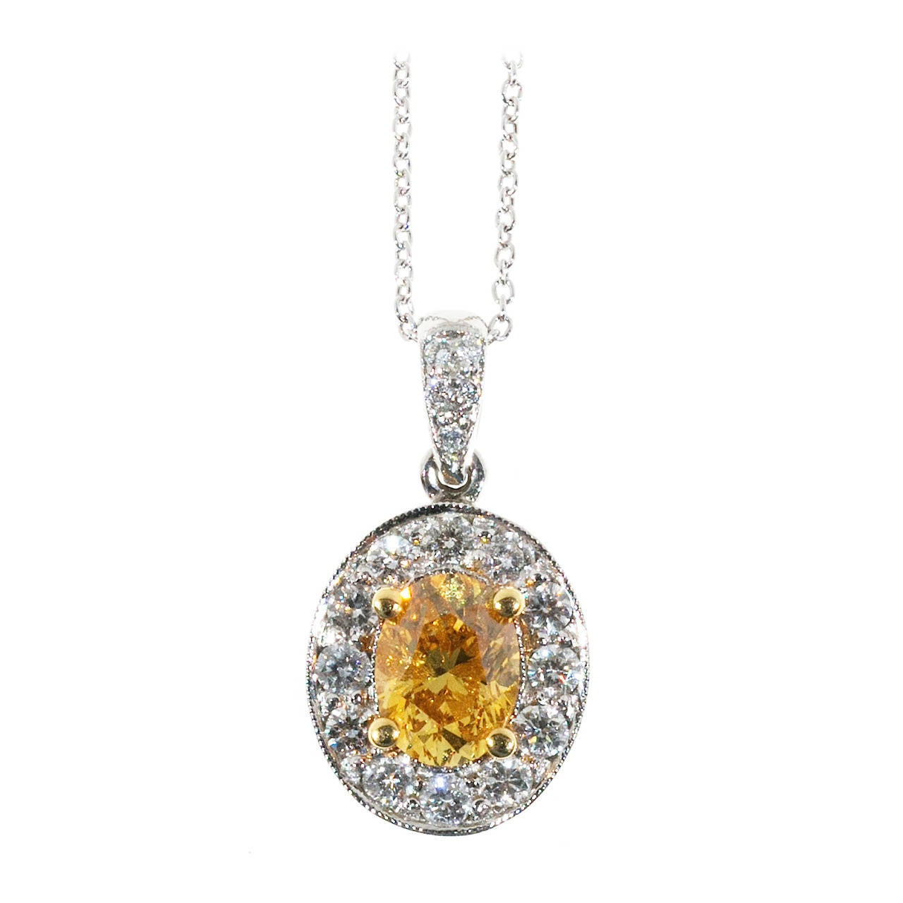 Natural Orange Yellow Fancy Diamond Platinum Pendant Necklace