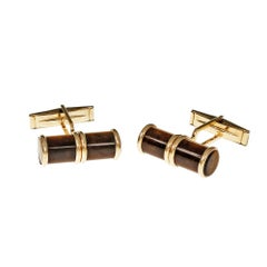 Natural Tiger Eye Cylinder Gold Cufflinks