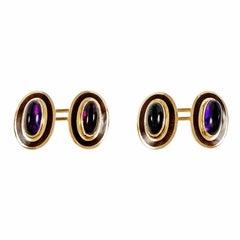 Victorian Amethyst Purple Enamel Gold Cufflinks