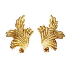 Tiffany & Co Swirl Gold Clip Post Earrings