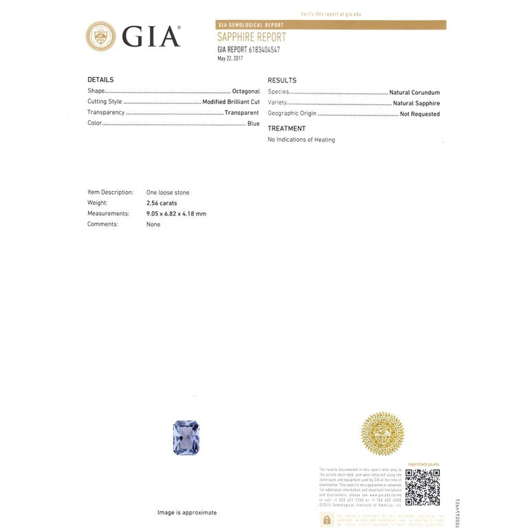 Women's Peter Suchy 2.56 Carat Sapphire Diamond Platinum Three-Stone Engagement Ring   For Sale