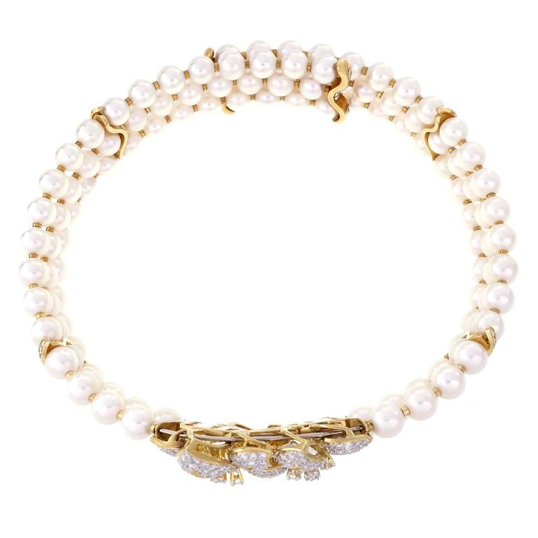 Three-Row Cultured Pearl Diamond Gold Collar Choker Necklace In Good Condition For Sale In Stamford, CT