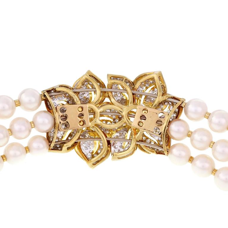 Women's Three-Row Cultured Pearl Diamond Gold Collar Choker Necklace For Sale