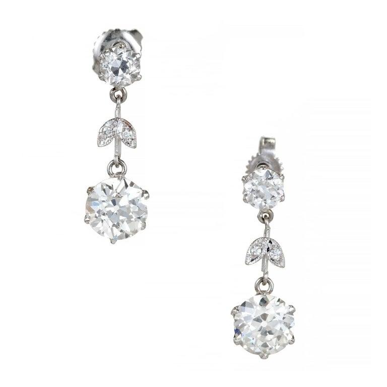 EGL Certified Diamond Edwardian Old European Cut Platinum Dangle Earrings