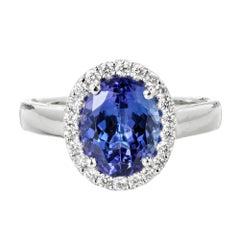 Peter Suchy Oval 2.22 Carat Tanzanite Diamond Halo Cocktail Ring