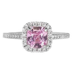 GIA Certified 1.54 Carat Pink Sapphire Halo Diamond Platinum Engagement Ring