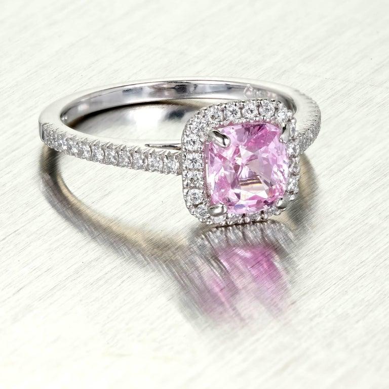 GIA Certified 1 54 Carat Pink Sapphire Halo Diamond Platinum Engagement Ring