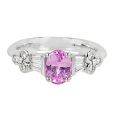 Spark GIA Certified Pink Oval Sapphire Diamond Platinum Engagement Ring