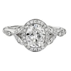 Peter Suchy GIA Certified 1.01 Carat Oval Diamond Halo Platinum Engagement Ring