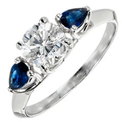 Peter Suchy GIA Certified Round Diamond Pear Sapphire Platinum Engagement Ring