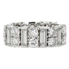 Baguette Round Diamond Platinum Eternity Band Ring