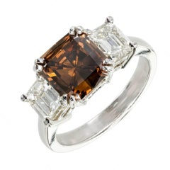 Peter Suchy GIA Certified Orange Dark Brown Diamond Platinum Engagement Ring