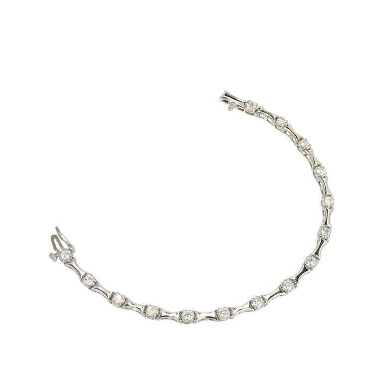 Women's 1.60 Carat Diamond Hinged Link Gold Bracelet For Sale