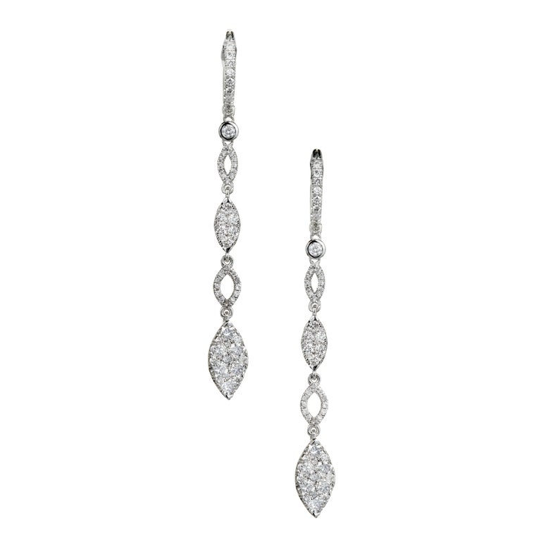 1.50 Carat Diamond Dangle Drop Gold Earrings