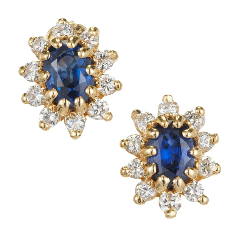 1.20 Carat Oval Sapphire Diamond Halo Gold Earrings