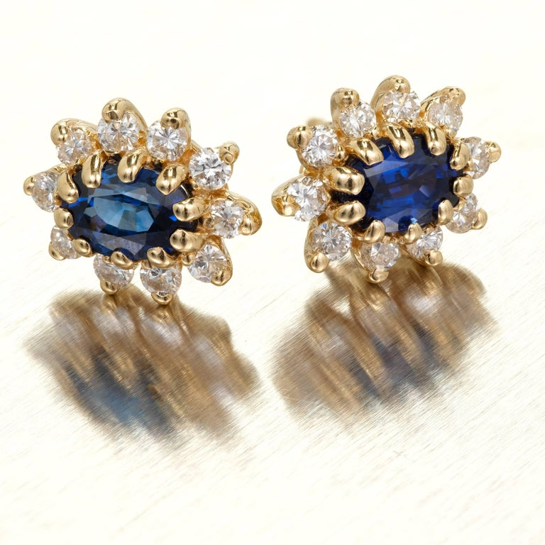 1.20 Carat Oval Sapphire Diamond Halo Gold Earrings For Sale 2