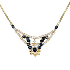 GIA Certified Sapphire Diamond Flexible Link Gold Necklace