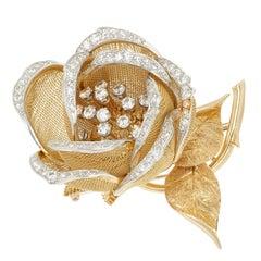 French Diamond En Tremblant Rose Flower Gold Brooche