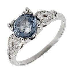 GIA Certified Art Deco Sapphire Diamond Platinum Engagement Ring