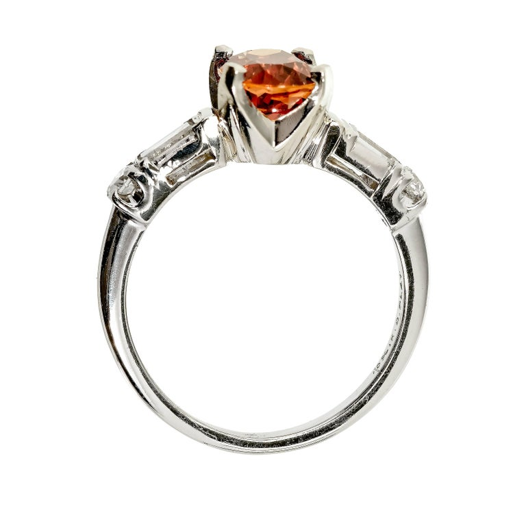 GIA Certified 2.08 Carat Orange Sapphire Diamond Platinum Engagement Ring 5