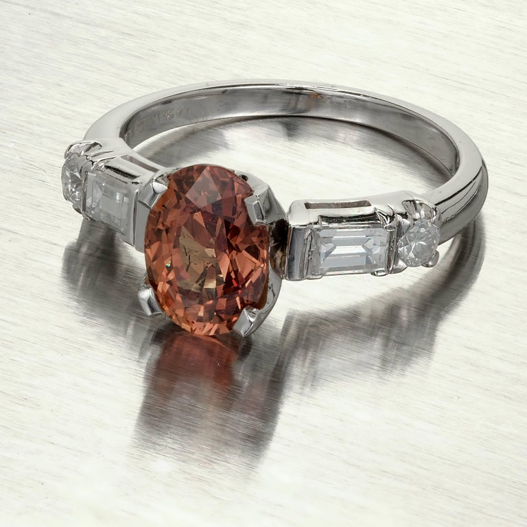 GIA Certified 2.08 Carat Orange Sapphire Diamond Platinum Engagement Ring 3