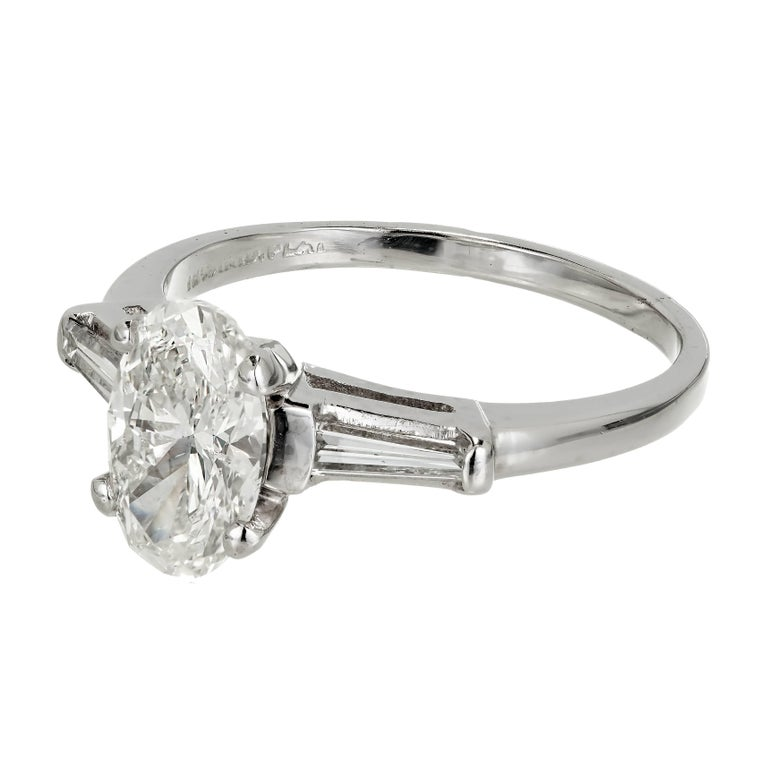 EGL Certified 1 38 Carat Oval Diamond Three Stone Platinum Engagement Ring Fo