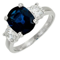 Peter Suchy 3.24 Carat Oval Blue Sapphire Diamond Three-Stone Engagement Ring