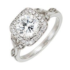 Peter Suchy GIA Certified 1.39 Carat Diamond Halo Platinum Engagement Ring