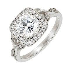 Peter Suchy GIA Certified 1.39 Carat Diamond Halo Platinum Engagement Ring