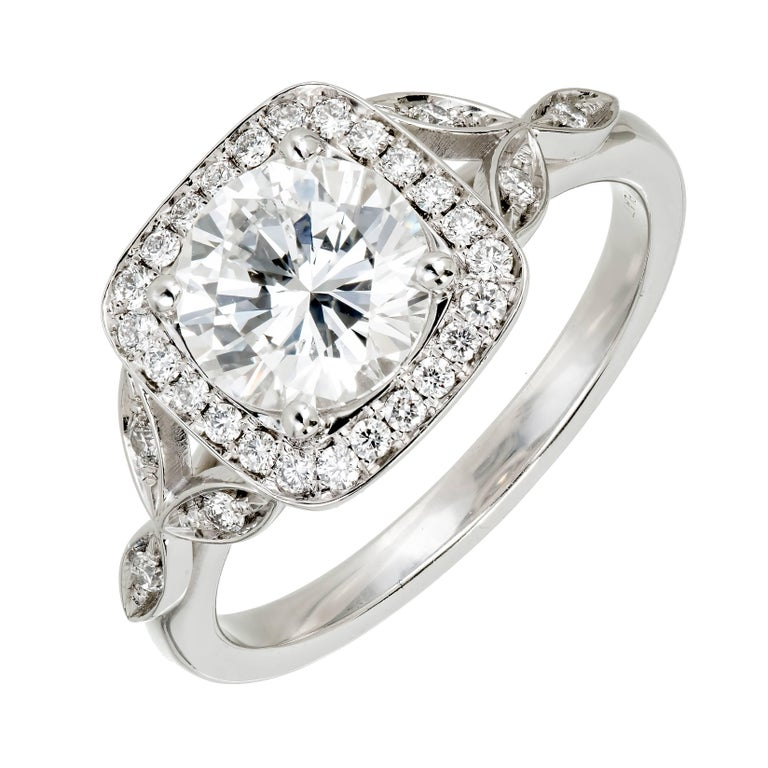 Peter Suchy GIA Certified 1.39 Carat Diamond Halo Platinum Engagement Ring 1