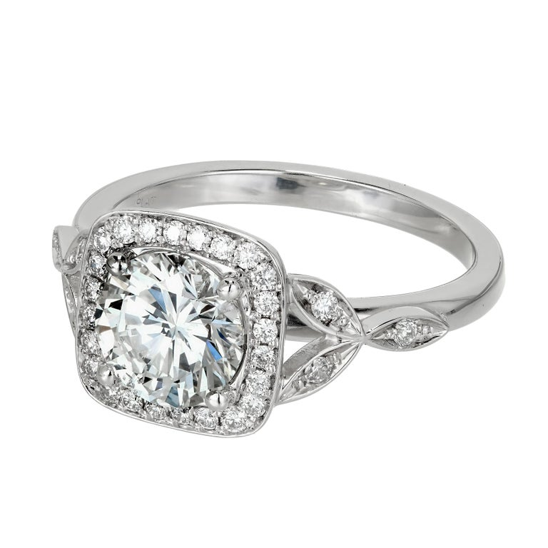 Peter Suchy GIA Certified 1.39 Carat Diamond Halo Platinum Engagement Ring 2