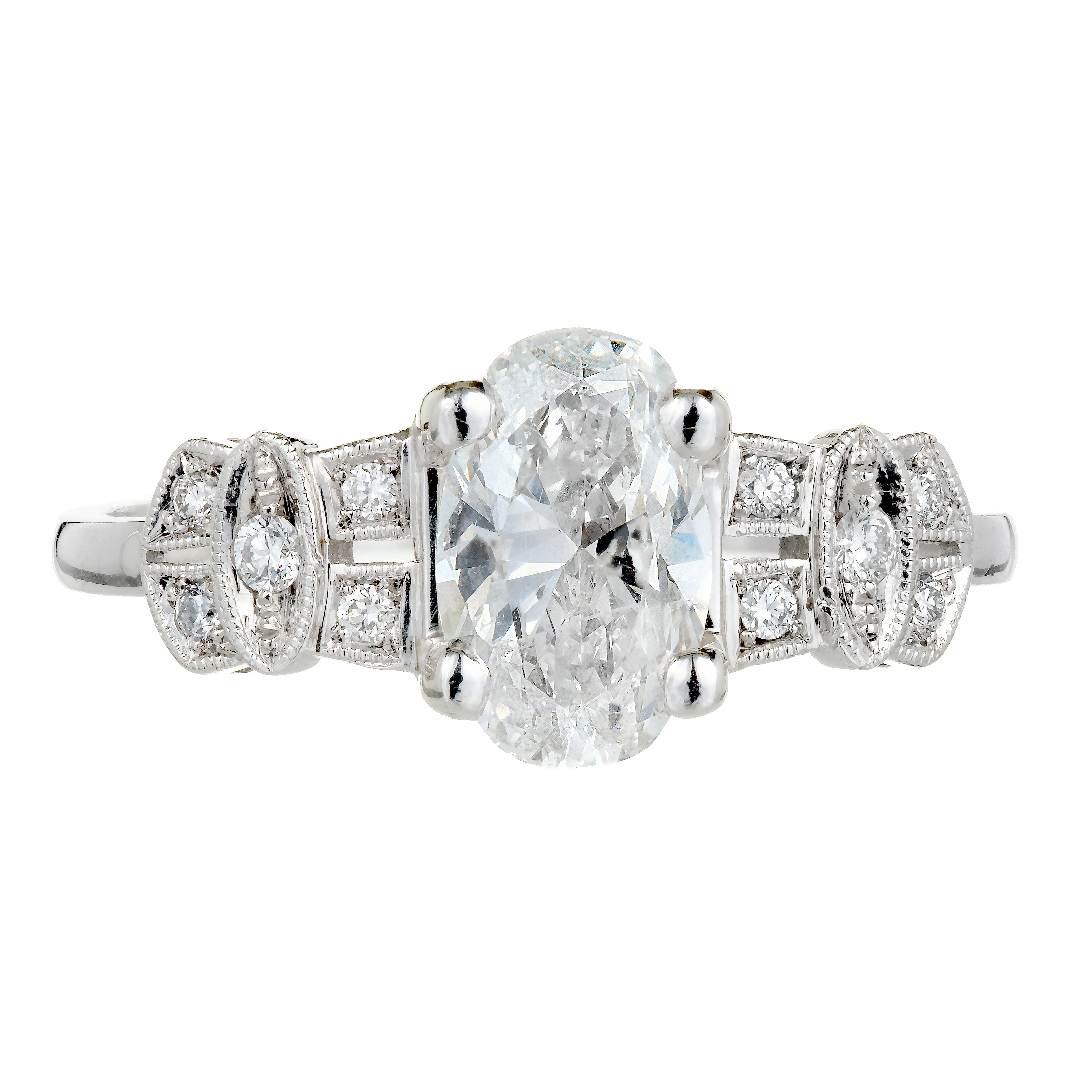 Peter Suchy GIA Certified 1.08 Carat Oval Diamond Platinum Engagement Ring