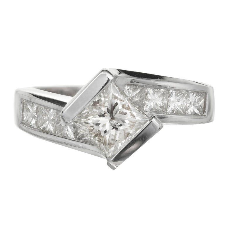 EGL Certified 1.20 Carat Diamond Princess Cut Swirl Design Gold Engagement Ring