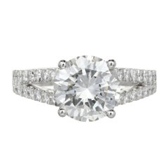 Peter Suchy GIA Certified Diamond Split Shank Platinum Engagement Ring