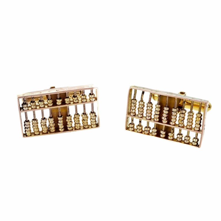 Abacus Rose Gold Cufflinks, 1940s