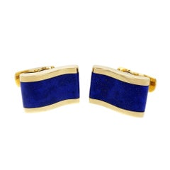 Blue Lapis Wave Design Yellow Gold Cufflinks