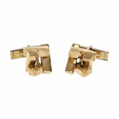 Midcentury Geometric 3-D Gold Cufflinks