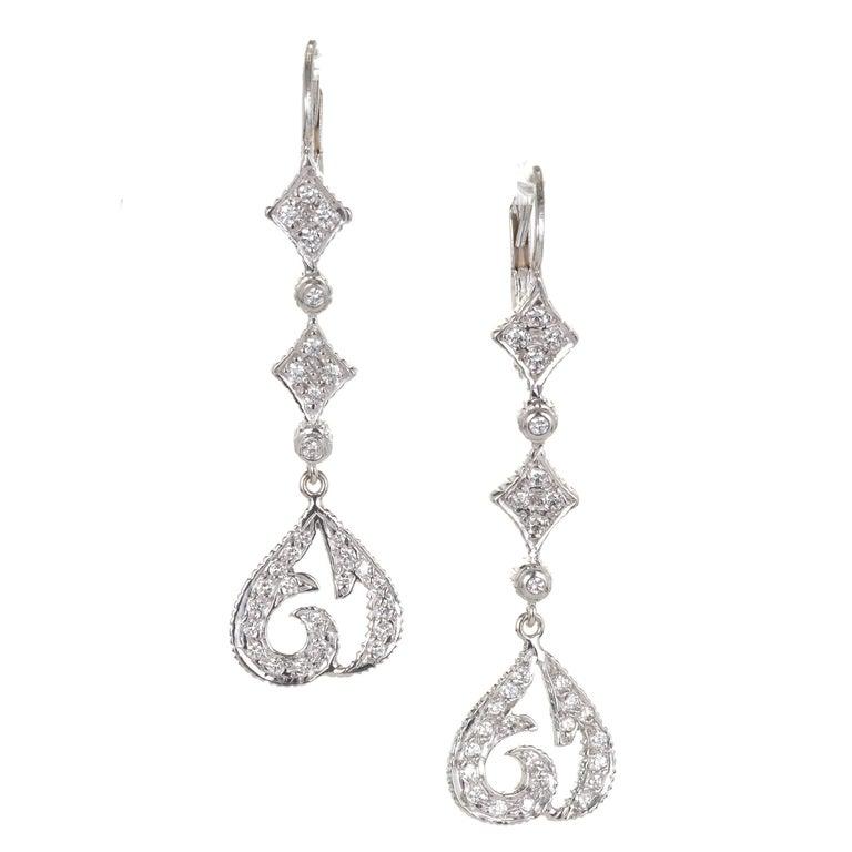 Doris Panos Diamond Gold Drop Dangle Earrings