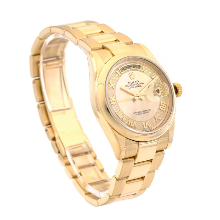 Women's or Men's Rolex Yellow Gold Day-Date President automatic Wristwatch Ref 118208 For Sale