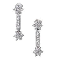 1.80 Carat Diamond Star White Gold Dangle Earrings