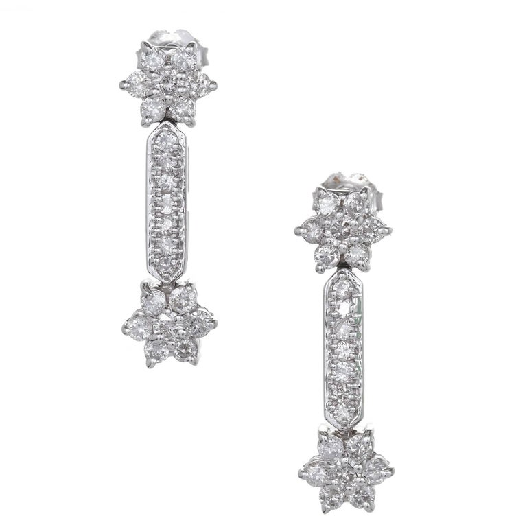 1 80 Carat Diamond Star White Gold Dangle Earrings For