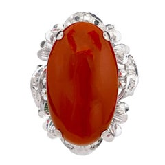 GIA Certified Large Orange Red Coral Gold Cocktail Ring