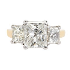 Peter Suchy 3.27 Carat Diamond Three-Stone Gold Platinum Engagement Ring