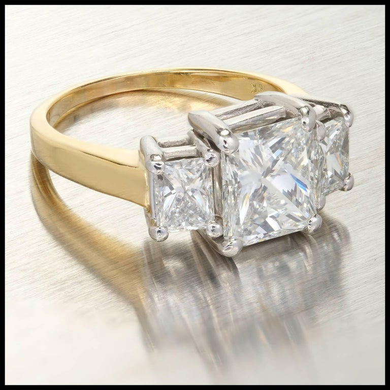 Radiant Cut  Peter Suchy 3.27 Carat Diamond Three-Stone Gold Platinum Engagement Ring For Sale