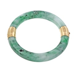 Oversize Jadeite Jade Mottled Green Hinged Gold Bangle Bracelet