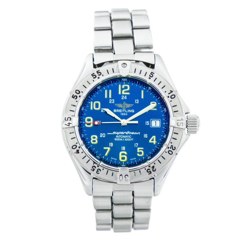 Breitling Stainless Steel Bentley Automatic Wristwatch Ref: Breitling Stainless Steel Superocean Blue Dial Automatic