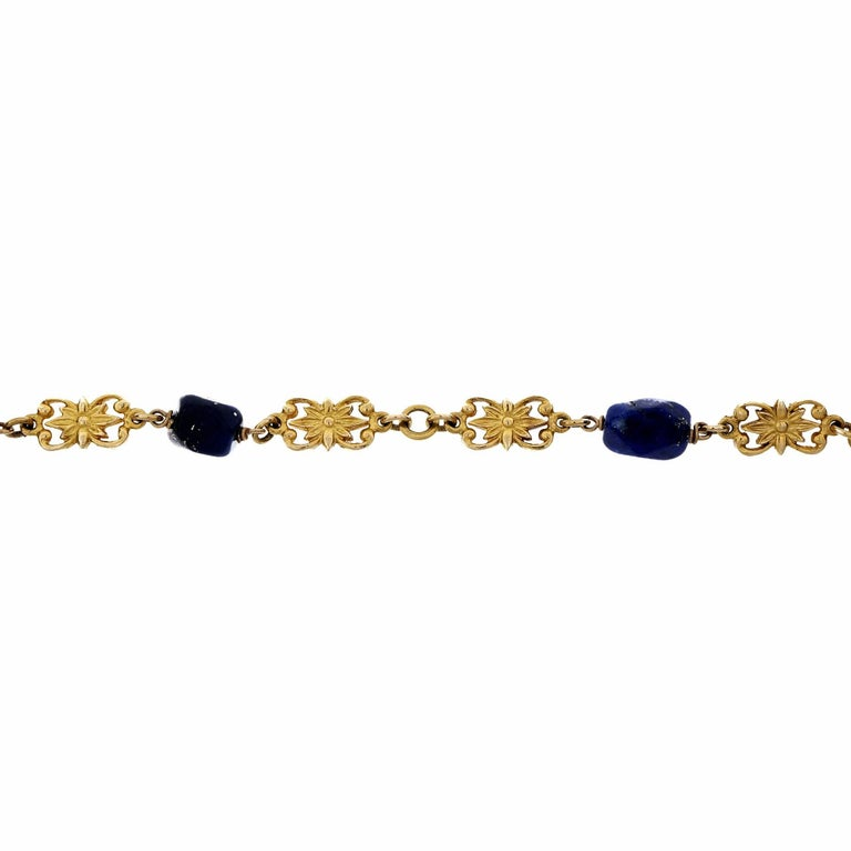 GIA Certified Lapis Long Chain Gold Necklace In Good Condition For Sale In Stamford, CT