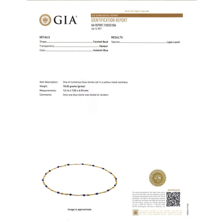 GIA Certified Lapis Long Chain Gold Necklace For Sale 2