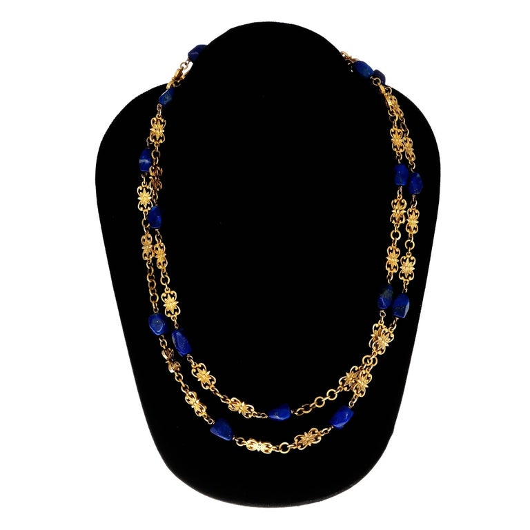 GIA Certified Lapis Long Chain Gold Necklace For Sale 1